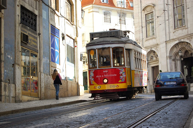 The yellow trams of Lisbon, Portugal