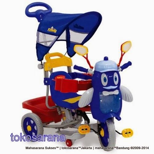 Sepeda Roda Tiga Family F9457T Penguin Sandaran Tangan Seri Bintang dan Rangka Sistem Suspensi