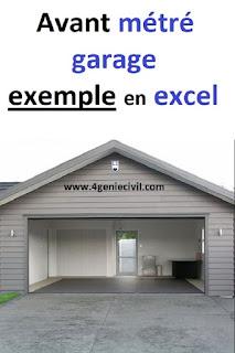 Feuille excel d'avant métré pour gros oeuvre pour opération de construction d'un garage 2 boxes en couverture traditionnel.