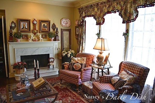Nancy's Daily Dish shared her English Cottage Living Room featured at One More Time Events.com