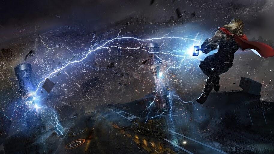 Thor, Hammer, Lightning, Marvels Avengers, Art, 4K, #3.2320