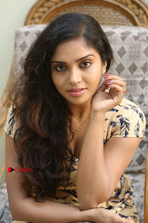 Telugu Actress Karunya Chowdary Stills in Short Dress at ATM Not Working Press Meet  0248.jpg