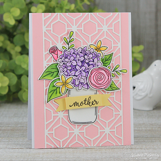 Flowers in Jar Card for Mother by Juliana Michaels |  Lovely Blooms Stamp Set by Newton's Nook Designs #newtonsnook