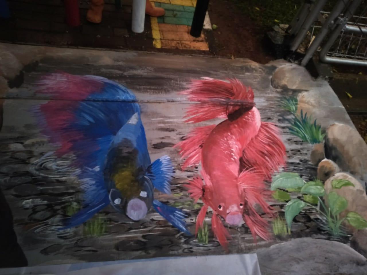 Lukis Dinding Mural 3d Ikan Cupang Icon Walikota Jakarta Barat