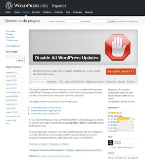 Deshabilitar todas las actualizaciones de WordPress