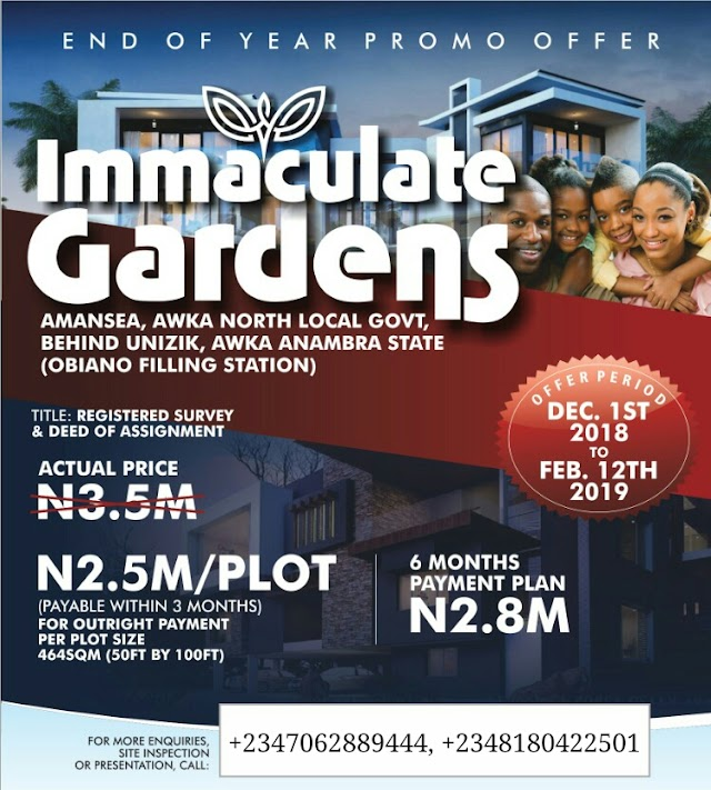 IMMACULATE GARDENS, AMANCEA, AWKA, ANAMBRA (LAND FOR SALE)