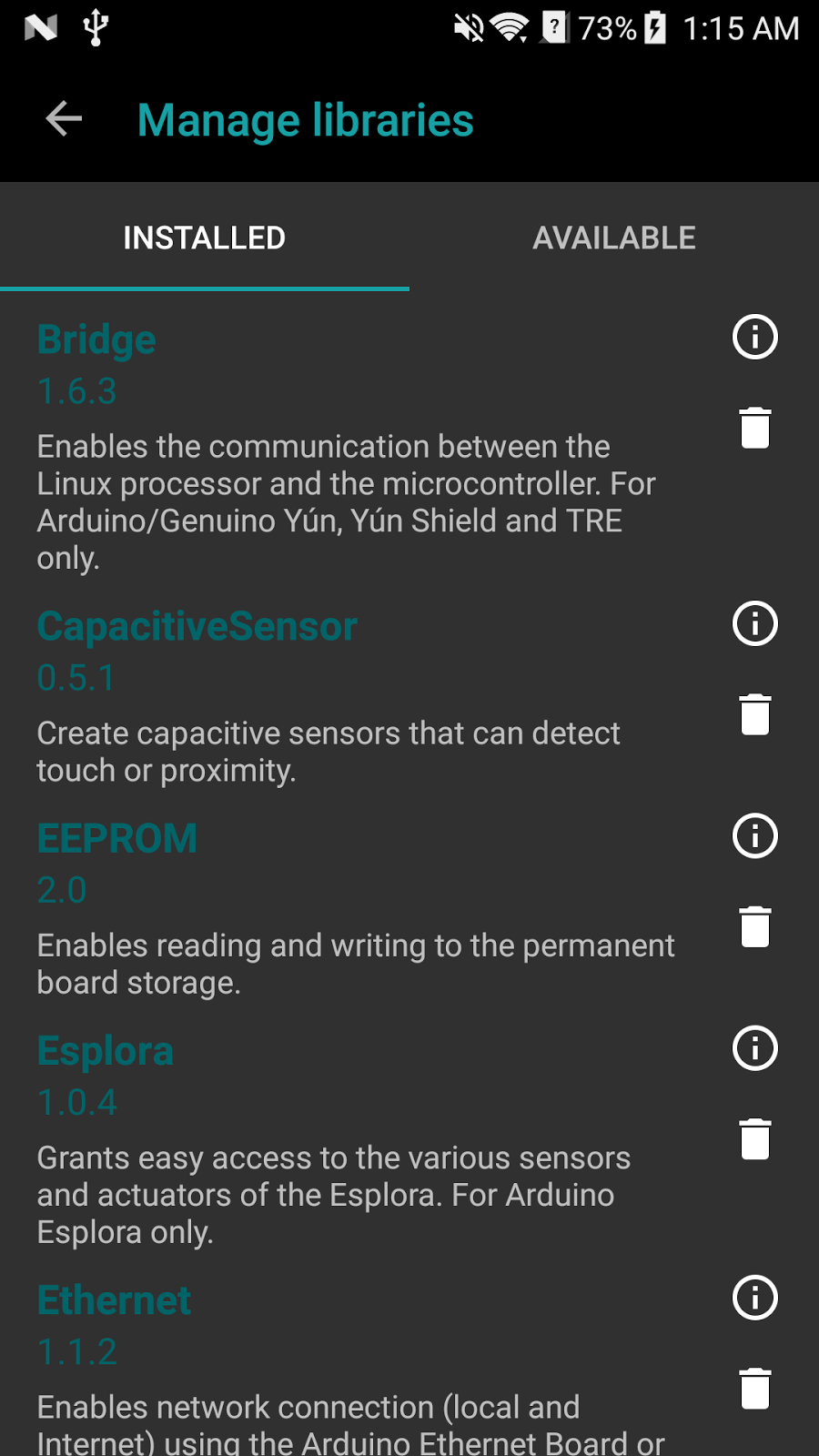 Library Manager | ArduinoDroid - Arduino IDE for Android
