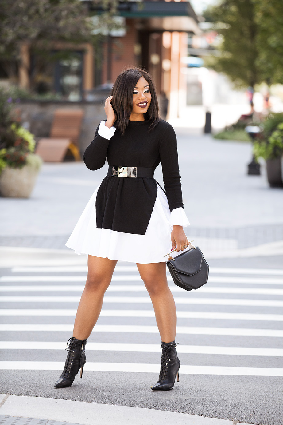 black and white combo for fall, ankle boots, www.jadore-fashion.com