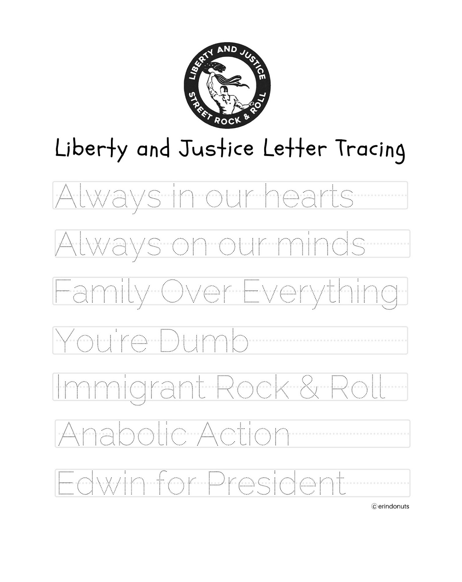 Liberty Justice Share Socially Distant Remotely Recorded Punk Oi Cover Of Robyn S Dancing On My Own Liberty Justice Letter Tracing
