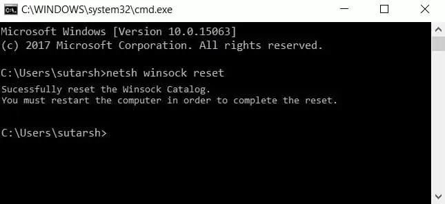 Run netsh and winsock reset Command