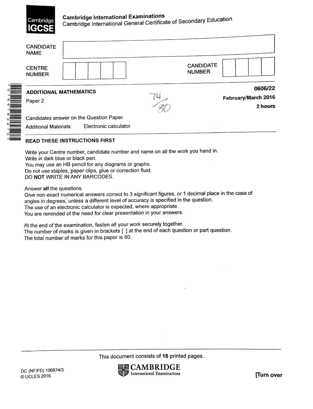 IGCSE Add Maths Working Answers [0606/22] Paper 2 2016 (Feb