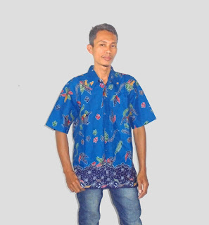 Baju batik kantor pria, Biru