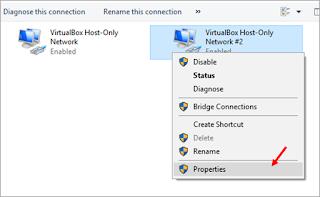 Properties pada adapter VirtulaBox Host-Only Network #2