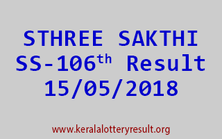 STHREE SAKTHI Lottery SS 106 Result 15-05-2018