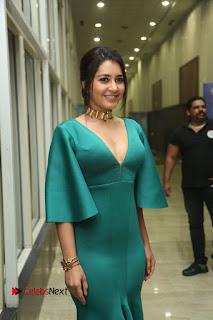 Actress Raashi Khanna Pictures in Green Long Dress at Hyper Trailer Launch  0126.JPG