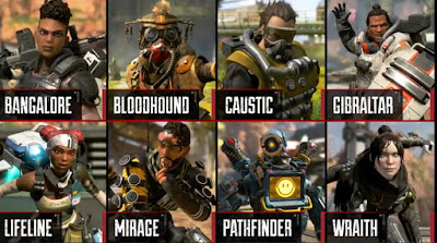 Apex Legends, Characters, Bangalore, Bloodhound, Caustic, Gibraltar, Lifeline, Mirage, Pathfinder, Wraith