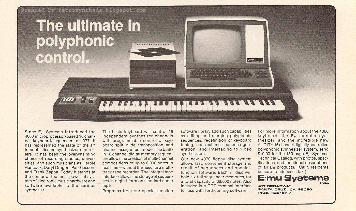 Retro Synth Ads: E-mu 4060 Microprocessor Keyboard and 4070