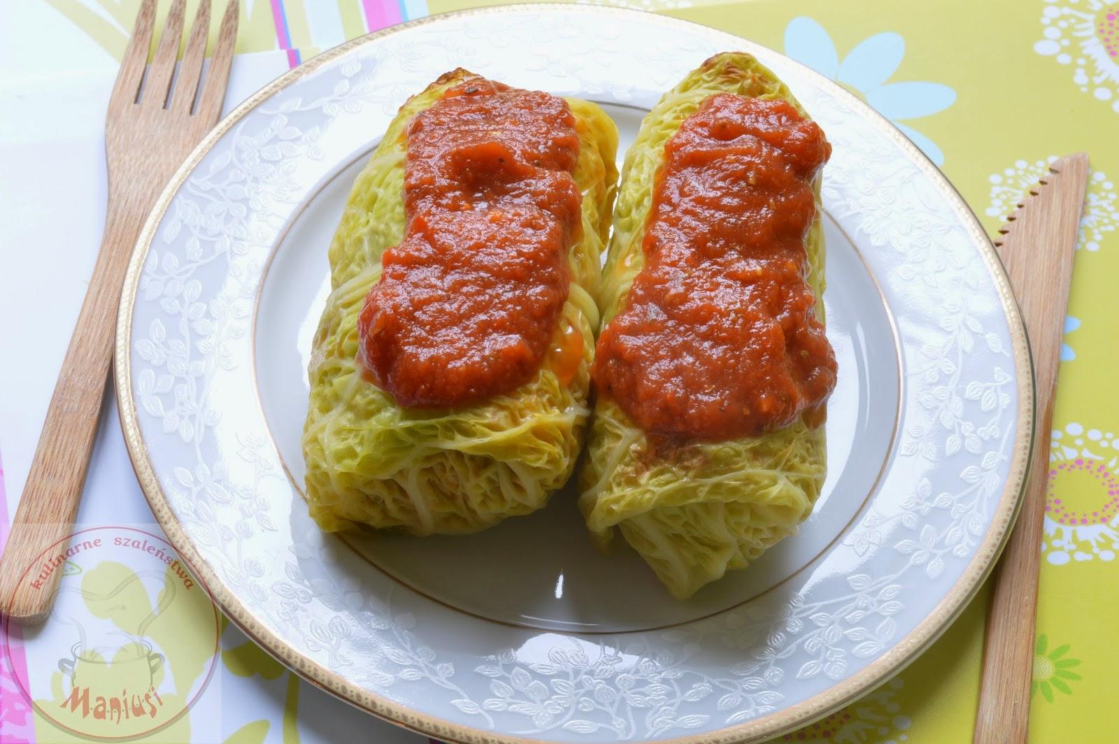 Gołąbki z mięsem, ryżem i serem korycińskim