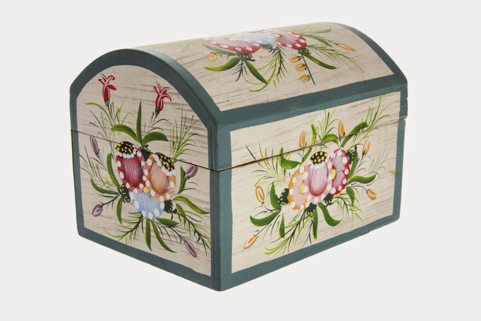 Floral painted european jewelry box