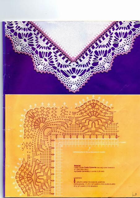 Fantástico Bico de Crochê de Canto Com Gráfico Para Decorar Sua Mesa