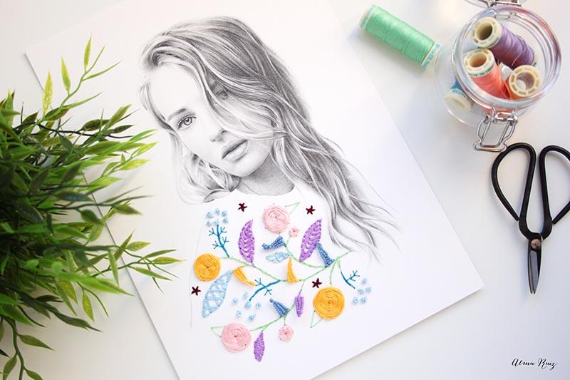 Ilustración bordada sobre papel