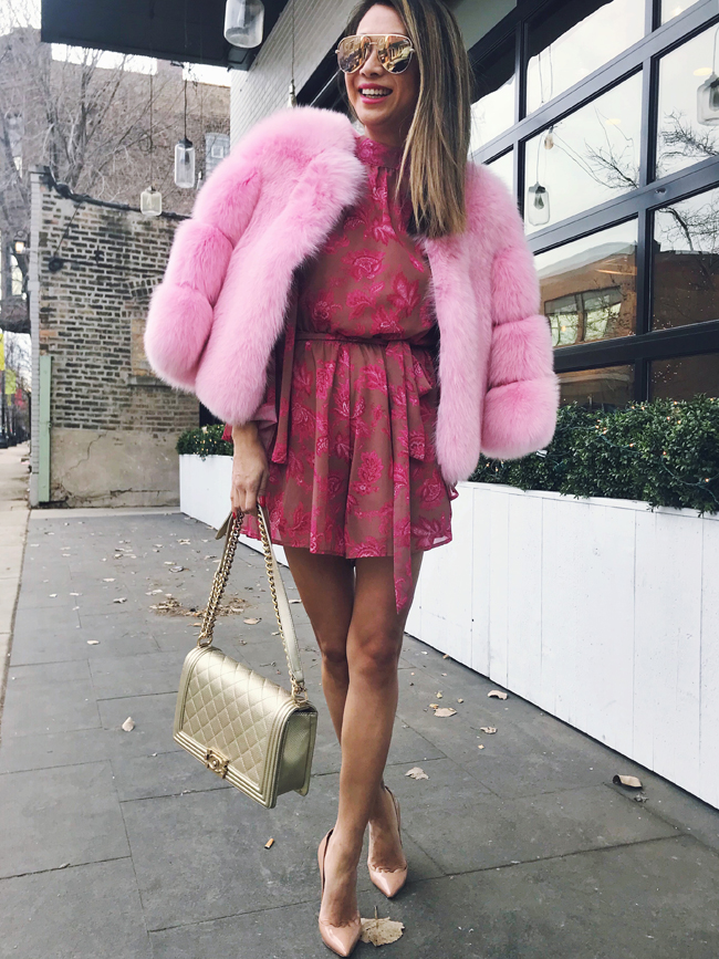 Pink Fur, Spring floral romper, Chicago Style Blogger, Summer House Santa Monica