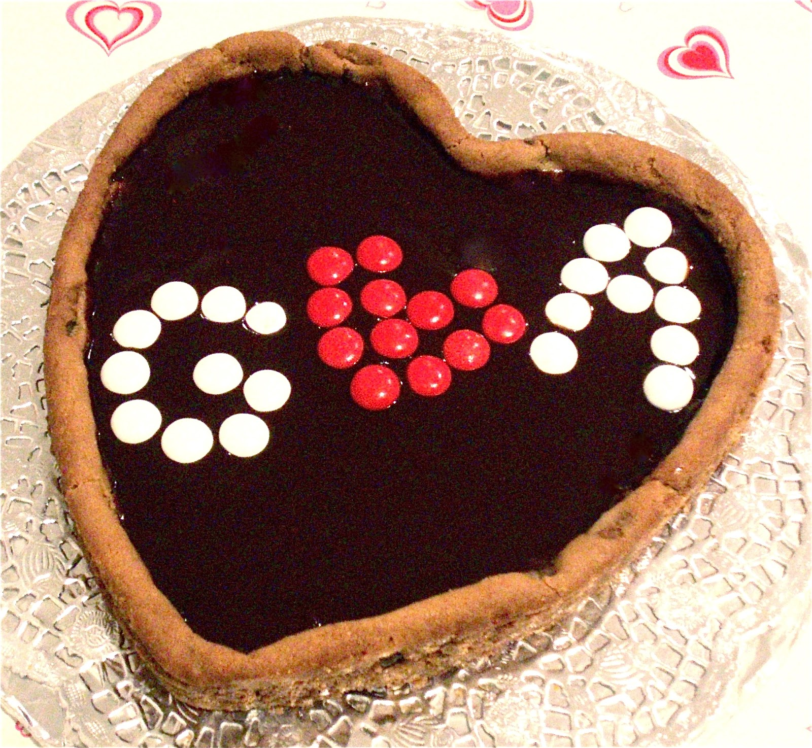 Giant Heart Shaped Cookie Cake Topped With Fudgy Chocolate