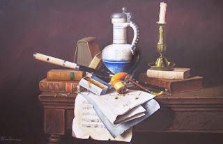 pinturas-bodegones-jarras-libros-vinos