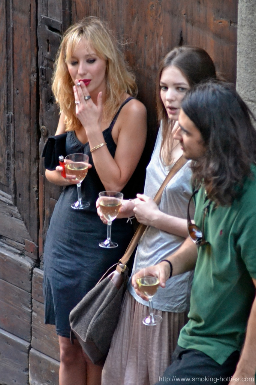 Smoking And Drinking Outside A Party Smoking Hotties