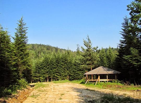 Wiata przed doliną potoku Świętokrzyskiego na Suchej Górze