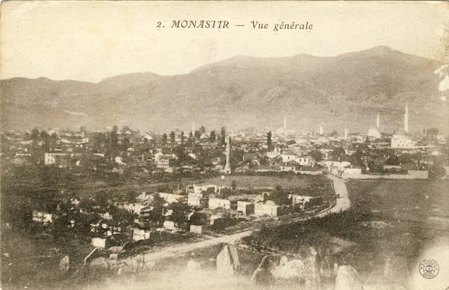Panorama of the city from Turkish cemetery to the southwest with Baba Mountain in the background. On the right side is seen Haydar Kadi mosque with the minaret which was later destroyed by bombing.