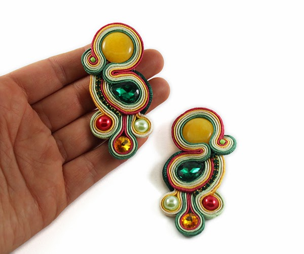 colourful soutache earrings, soutache handmade jewelry, yellow green and red soutache