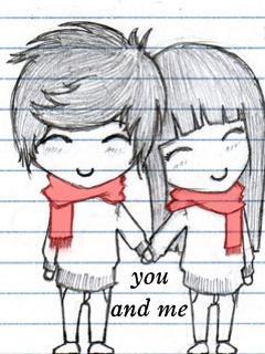 cute boy and girl holding hands sketch on paper with pencil