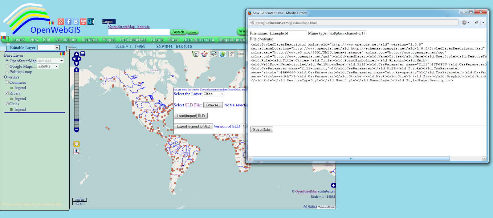OpenWebGIS is free online GIS: Layer Styling, SLD file