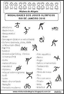 Lista das modalidades jogos olímpicos 2016