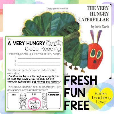 The Very Hungry Caterpillar Listen and Respond- Close Reading