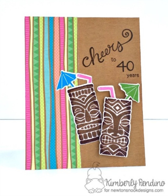 Cheers to 40 Years Card by Kimberly Rendino | Tiki Time and Years of Cheers stamp sets by Newton's Nook Designs #newtonsnook