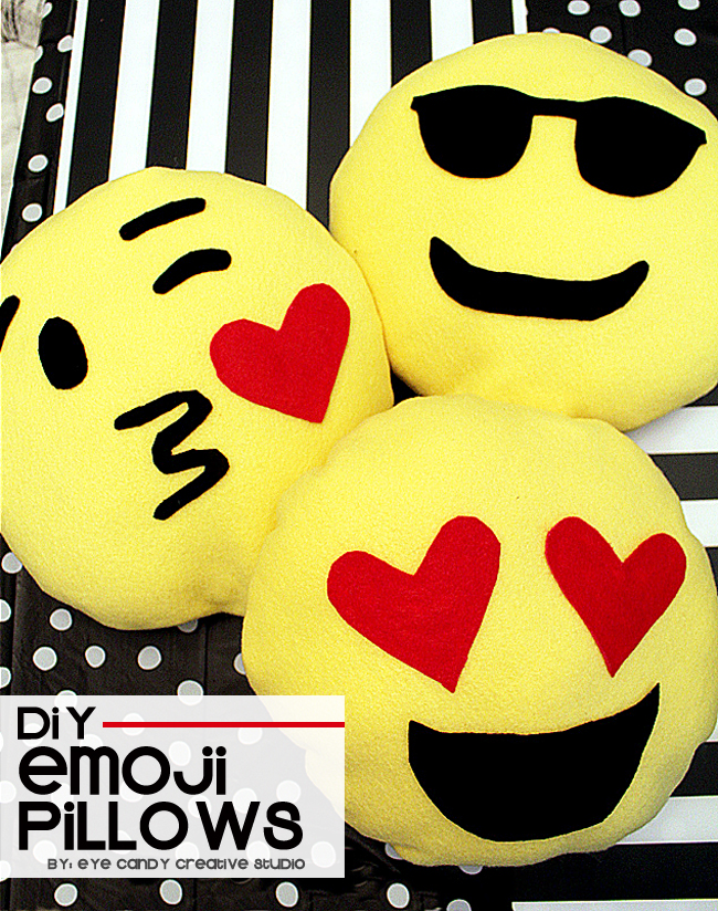 DIY emoji pillows, emoji party craft idea, emoji sleepover, emoji birthday
