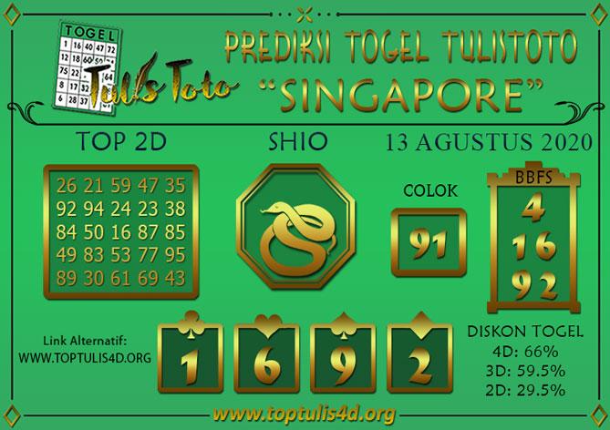 Prediksi Togel SINGAPORE TULISTOTO 13 AGUSTUS 2020