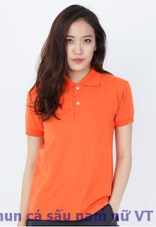 Áo thun cá sấu nữ màu cam