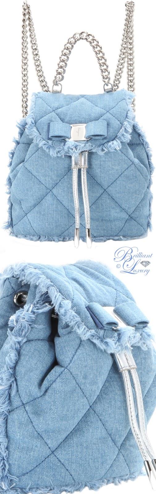 Brilliant Luxury ♦ Salvatore Ferragamo Giuliette quiltet denim bagpack