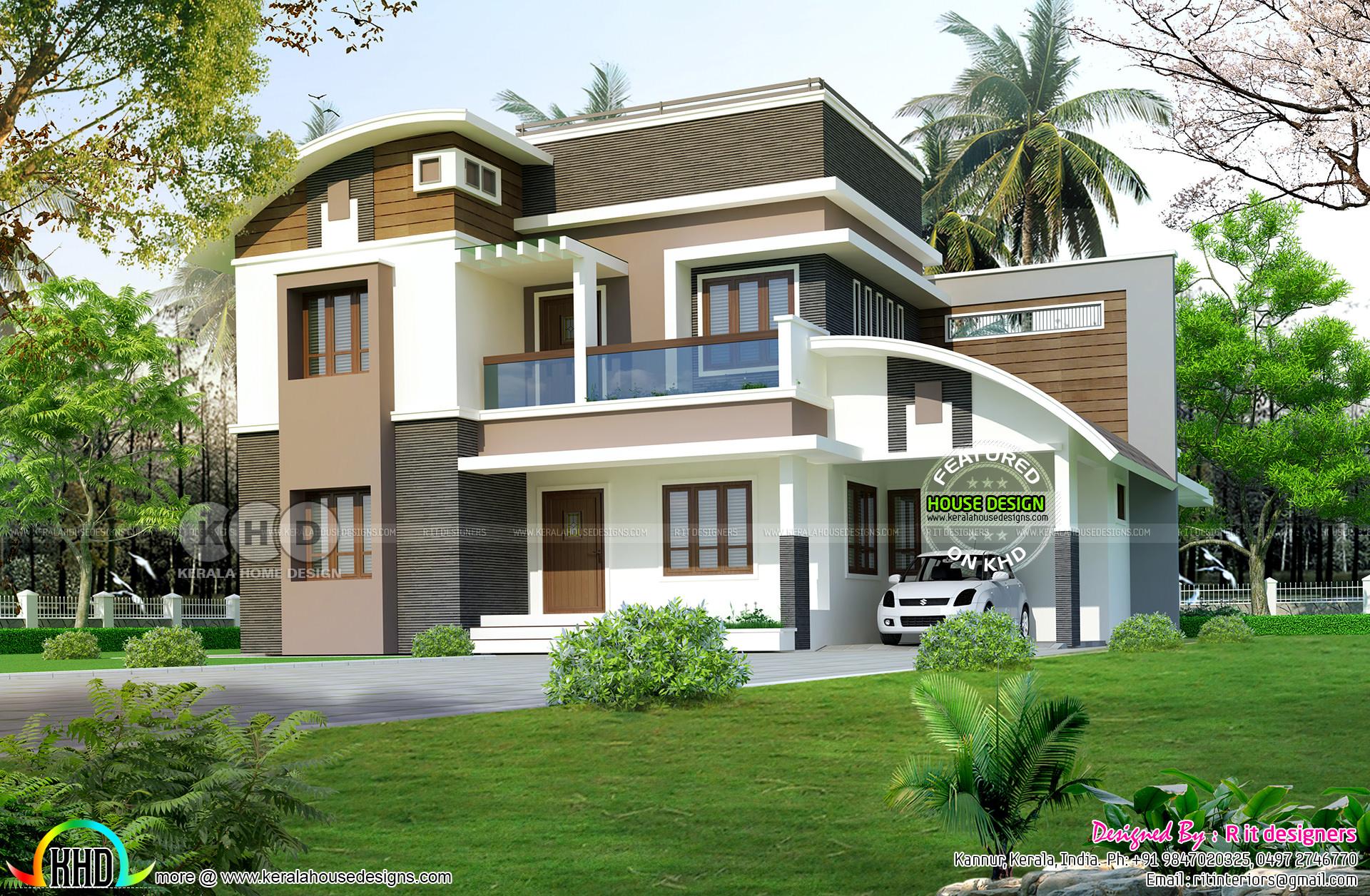 2455 Sq Ft 4 Bedroom Modern House Plan Kerala Home Design