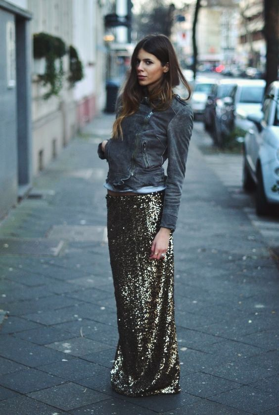 Maja Why Biker Jacket + Gold Sequin Maxi Skirt