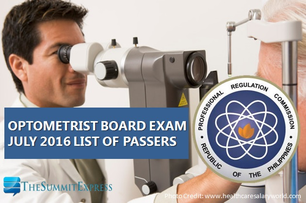 July 2016 Optometrist board exam results