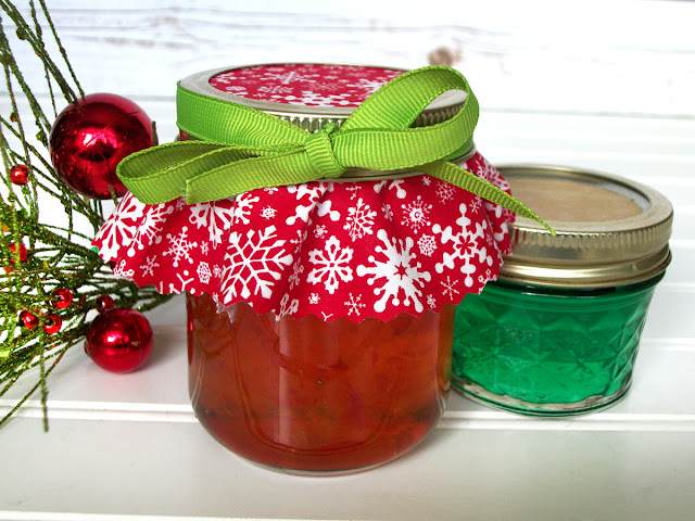 red snowflake holiday jam jar covers