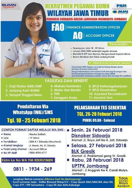 Rekrutmen Pegawa]i BUMN di  PT. Permodalan Nasional Madani Wilayah Jawa Timur Terbaru Februari 2018