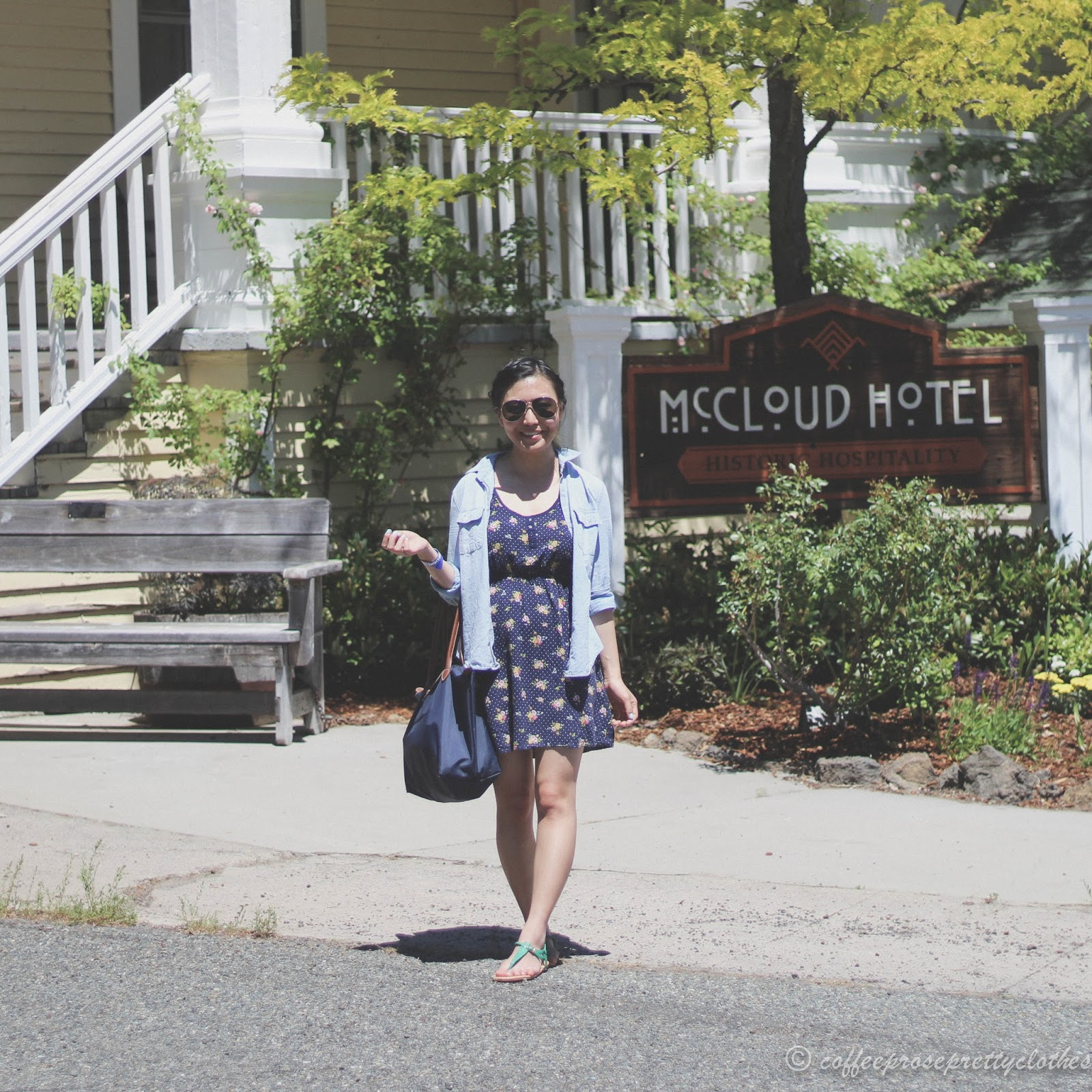 Floral Dress with Chambray Shirt at the McCloud Hotel
