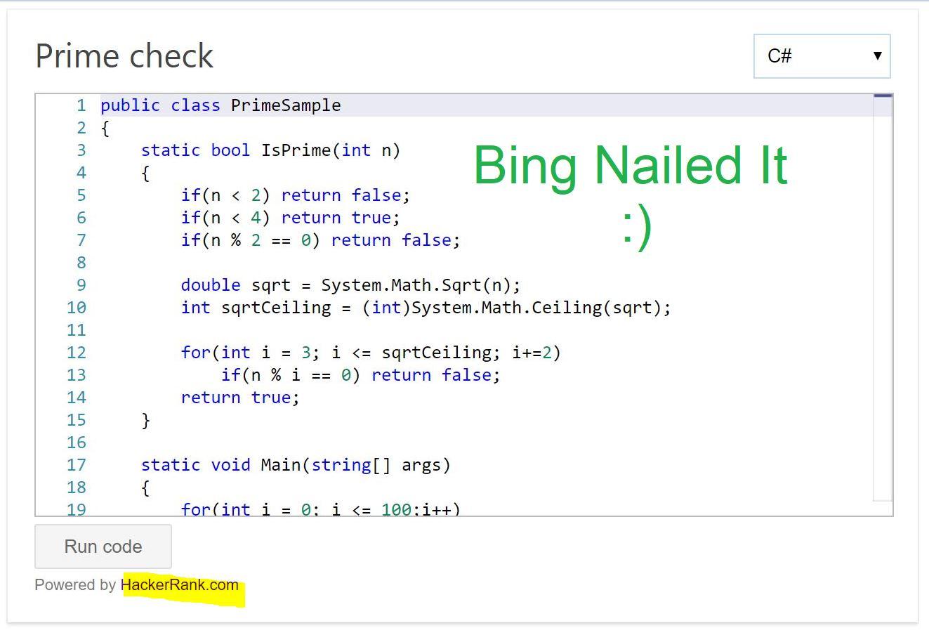 Using Bing and Hackerrank to solve Leetcode