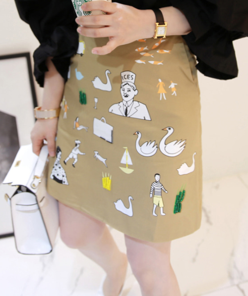Embellished Mixed Print Skirt