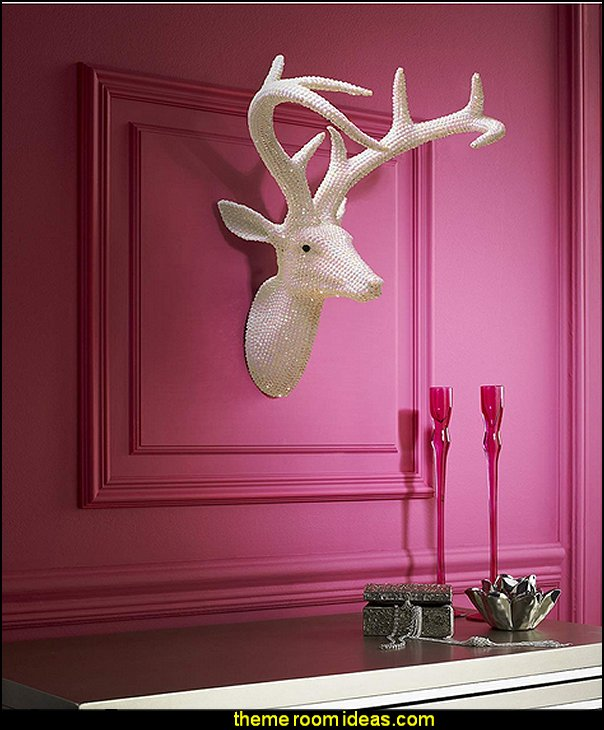 White Star Studded Faux Stag Deer Head, Modern Home